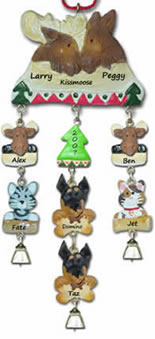 Moose Family Personalized Christmas Ornament