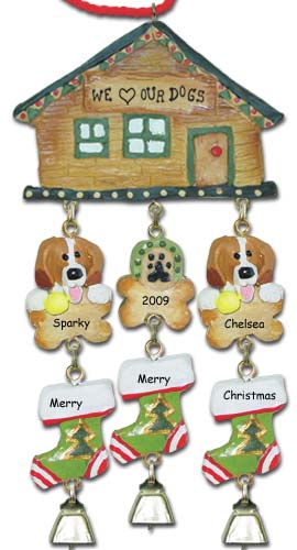 Beagle Dog Personalized Christmas Ornament