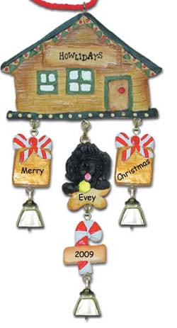 Black Poodle Personalized Dog Christmas Ornament
