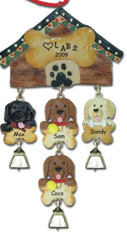 Chocolate Lab Personalized Dog Christmas Ornament