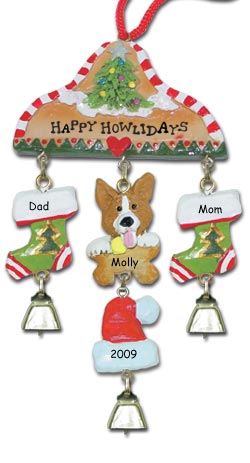 Corgi Dog Personalized Christmas Ornament