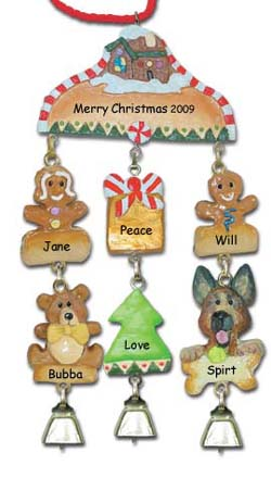 German Shepherd Personalized Dog Christmas Ornament