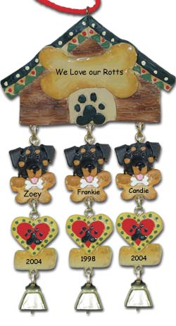 Rottweiler Personalized Dog Christmas Ornament