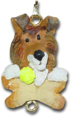 Collie Christmas ornament charm
