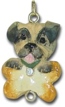 Pug Dog Christmas Ornament Charm