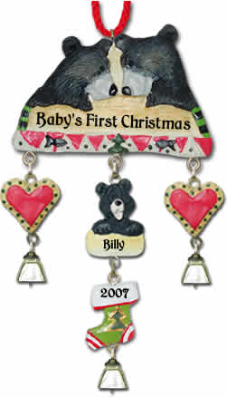 Personalized Bear Christmas Ornament