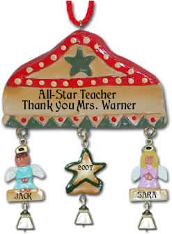 personalized teacher christmas ornament