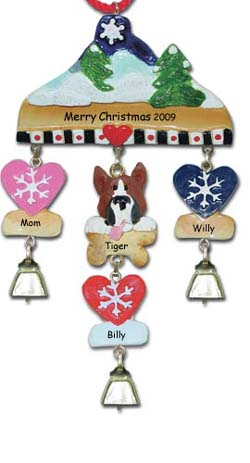 Boxer Dog Personalize Christmas Ornament