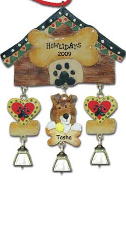 Personalized Collie Christmas Ornament