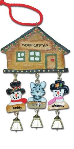Gray Tabby Cat Christmas Ornament
