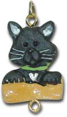 Black Cat Christmas Ornament Charm
