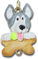 Husky Christmas Ornament Charm